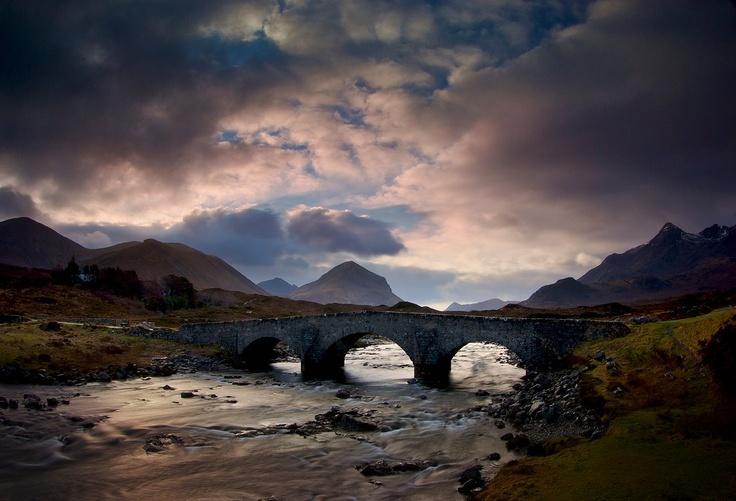 French Fall Wallpaper Skye Old Bridge Sligachan Scotland Countryside