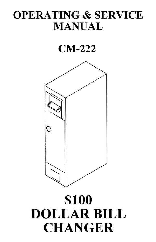Antares Dollar Bill Changer, CM 222 Operations Manual PDF