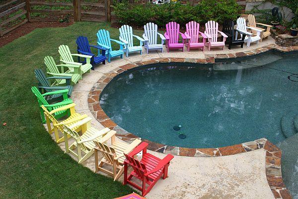 bright colored plastic adirondack chairs  Google Search