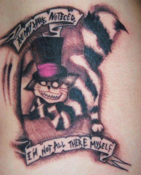 Gothic Cheshire Cat Tattoo This gothic Cheshire cat tattoo