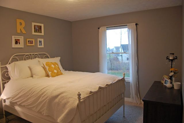 Beige carpet with Cathedral Grey paint Behr Love the