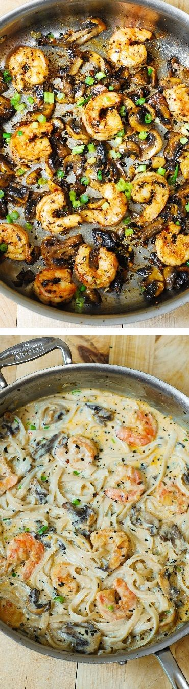 Creamy shrimp and mushroom pasta in a delicious homemade alfredo sauce.