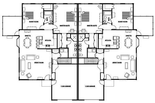 Duplex Floor Plans With Garage Duplex First Floor