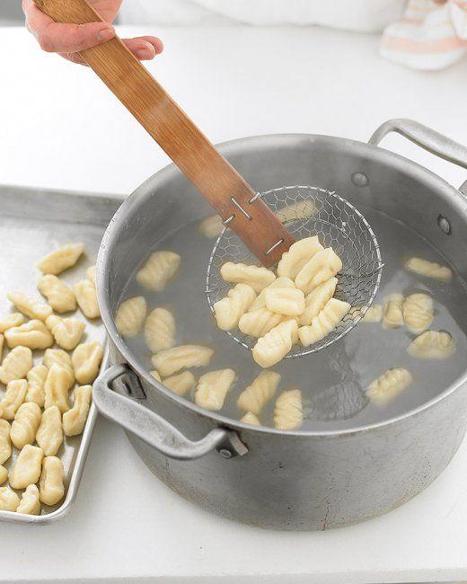 Gnocchi. Equal parts potato (mashed) and flour, plus one egg per 3 medium potato