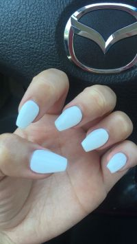 Short white coffin nails. Perfect for any season! # ...