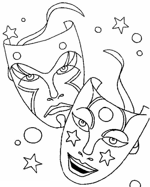 Comedy Tragedy Mask Coloring Pages