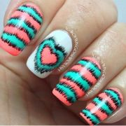 teal and coral nail design beauty