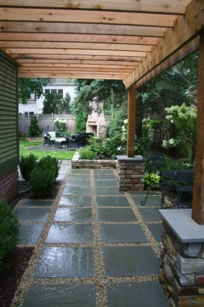DIY – gravel and square pavers . . . fairly easy and quick way to get extended patio or walkway