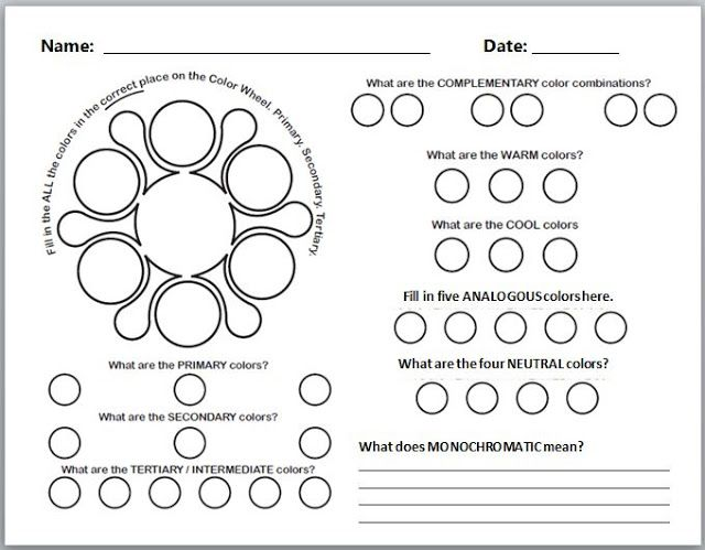 17 Best images about Art Worksheets on Pinterest