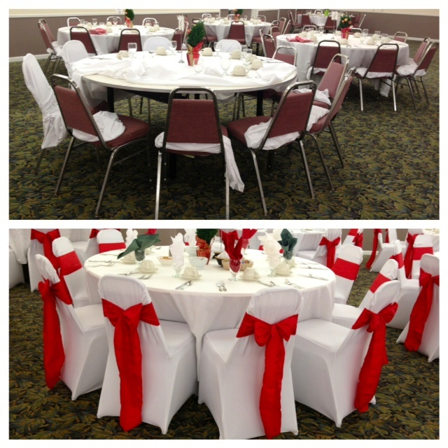 blue spandex chair covers dining seat upholstery fabric a dramtic before and after of our white covers/red crinkled taffeta sashes! great ...