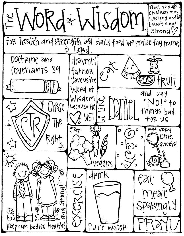 Word of Wisdom coloring Page for FHE + a great site for