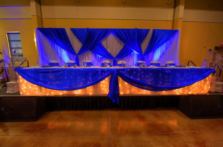 wedding chair covers with bows pink fuzzy cushion royal blue table setting and backdrop! | decor pinterest settings, ...