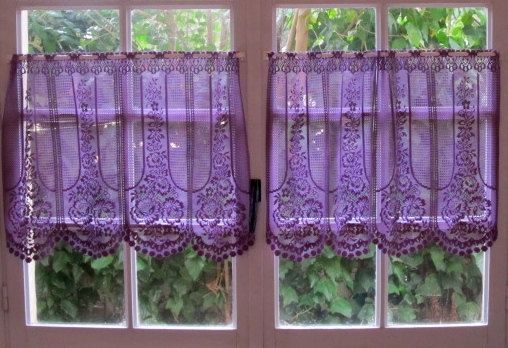 Aubergine Lace Cafe Curtain One Panel Purple Kitchen Curtain French Lace Curtain Country