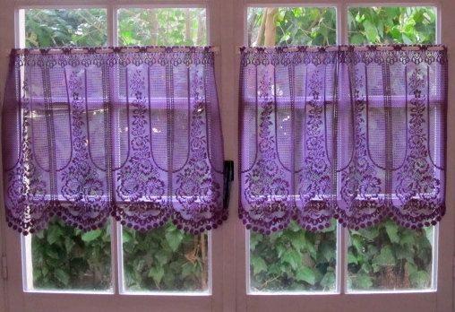 Aubergine Lace Cafe Curtain One Panel Purple Kitchen