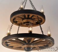 Double Wagon Wheel Chandelier by Cast Horn Designs   Wagon ...
