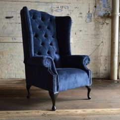 Living Room Ideas Uk Blue Paint India Details About Modern Queen Anne Chesterfield Wing Arm ...