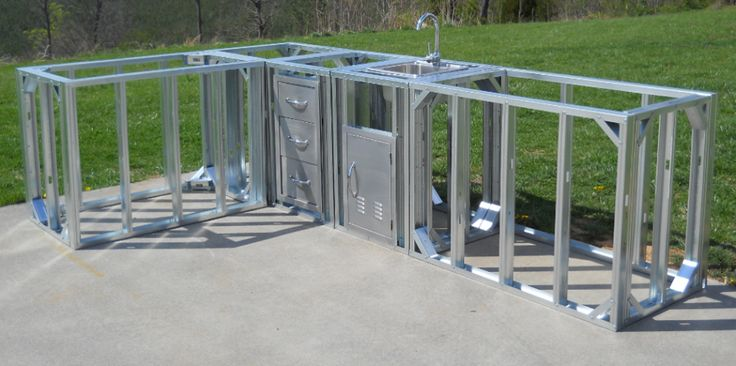 modular outdoor kitchen frames restoration hardware table riveting island frame kits with brushed ...
