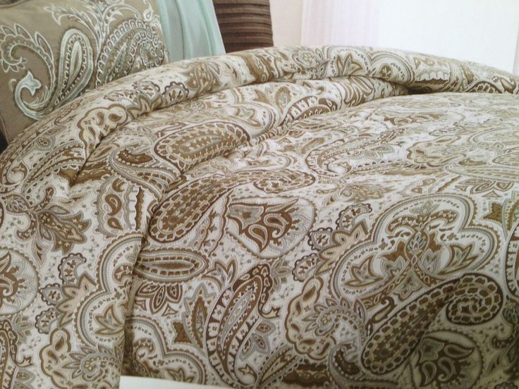 Blue and Brown Paisley Bedding  Bella Lux Paisley Blue Brown Tan Queen Duvet Cover  Shams Set