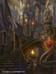 fantasy magic interior castle uchio kazumasa palace concept castles interiors geschichte ideen architecture drawings painting throne gothic medieval purple buildings