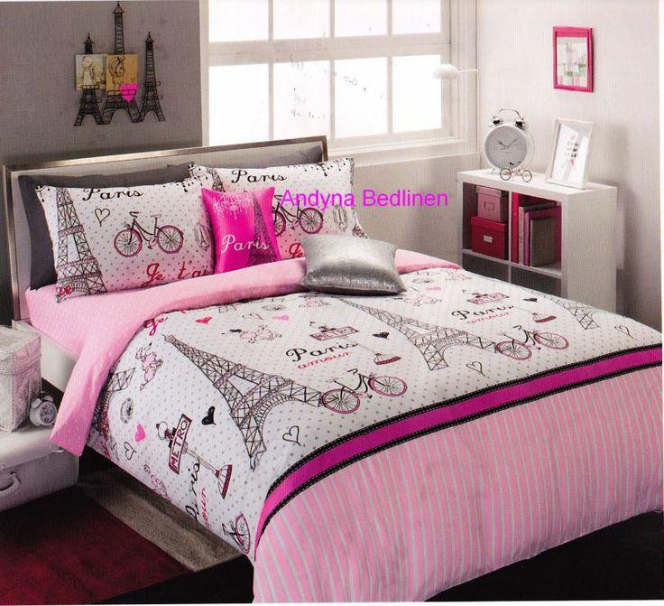 pink and black paris teen bedding