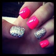 hot pink with silver glitter ring