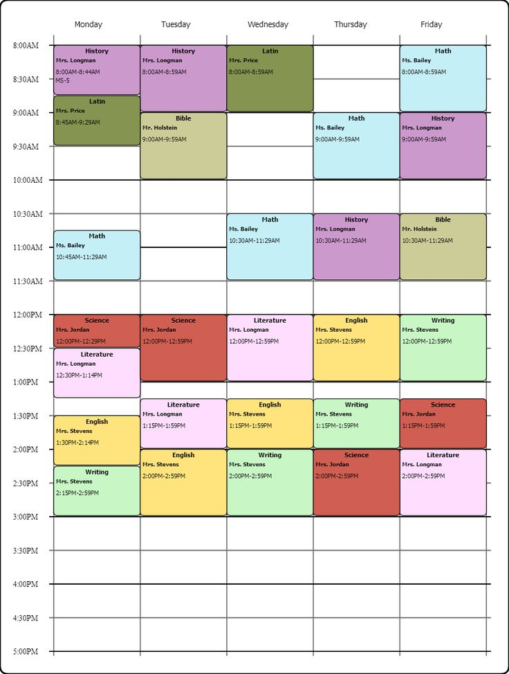 printable college class schedule template