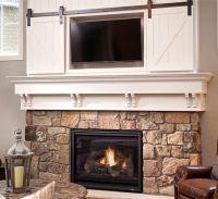Mini barn door / sliding doors over fireplace. Classy way ...