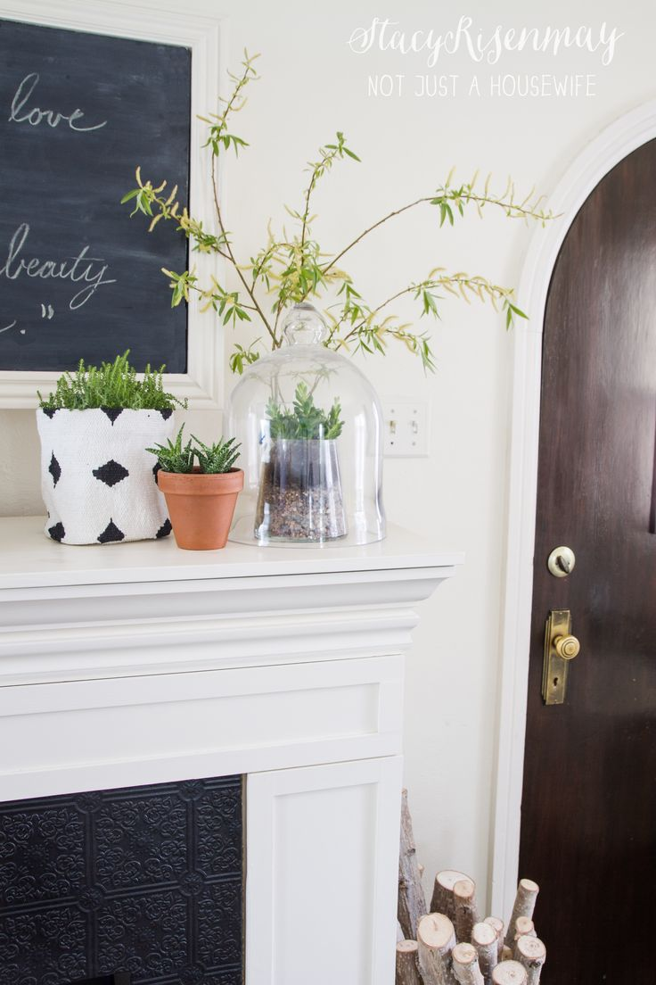 fireplace mantel with plants  Living Room  Pinterest