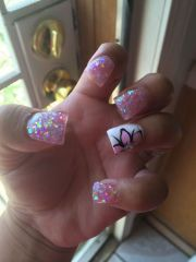 glitter nail art design flower