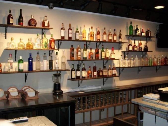 Bar Shelves  Mini BAR at Home  Pinterest  Bar shelves Shelves and Liquor bottles