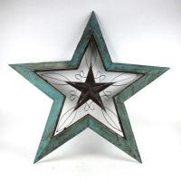 "Rustic Turquoise Wood & Metal 40"" x 42"" Angled Star Wall"