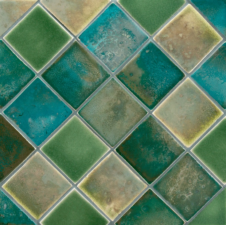 """ANN SACKS Fire and Earth 3"""" x 3"""" ceramic fields in 82-l blue silver gold luster, 93-l sage green luster and 4-f-p chromium green crystal:"""