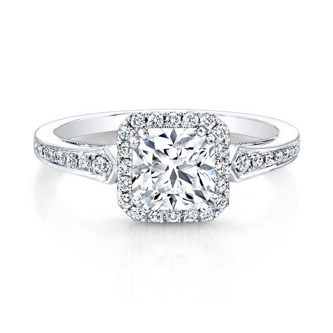 18K White Gold Vintage Inspired Square Diamonds Halo Engagement RingI like the halo idea  My