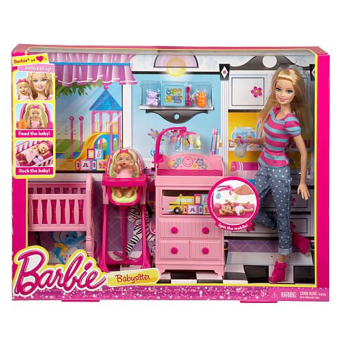babies r us high chair wedding folding covers for sale barbie careers babysitter doll and playset | dolls, toys babysitters