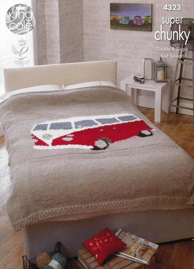 Knitting pattern for VW Camper Van blanket by Deramores