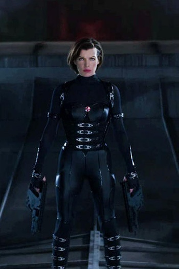 Black Latex and Metal Catsuit worn By Milla Jovovich Click Here To Buy your Catsuits from DCUK