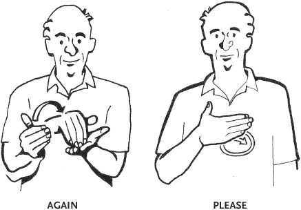 ASD sign language Again, and please American Sign Language