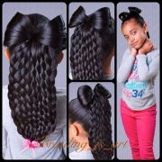 bow and braids little girls