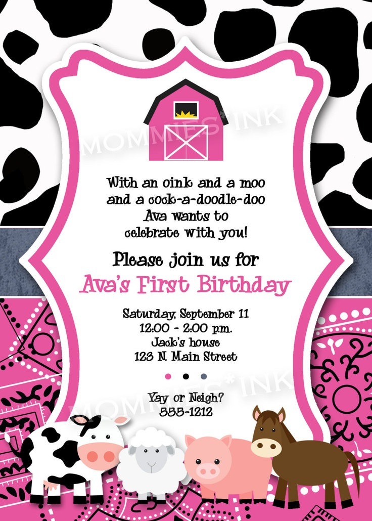 Pink Farm Animals Birthday Party Invite Farm Party