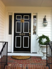 Black and white front door makeover