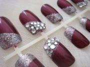 nail design burgandy nails