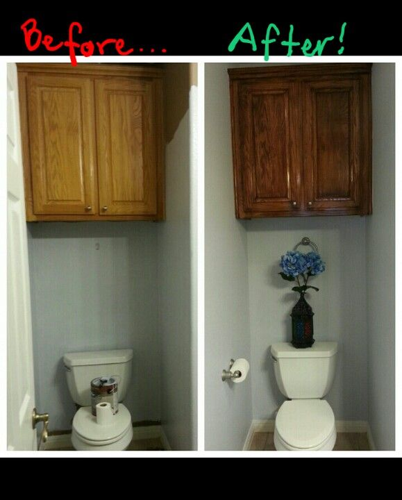 refinishing oak kitchen cabinets compact sink no sanding wood finish makeover! used a gel stain (minwax ...