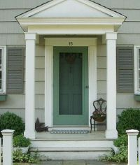 New pillars/molding--Small front stoop - Notice wide white ...