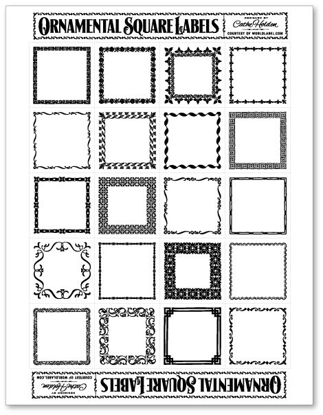 Free Printable Square Ornamental Labels, perfect for