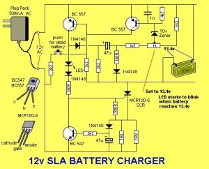 Solar Charge Controller Circuit Diagram | The LED flashes when the battery is charged