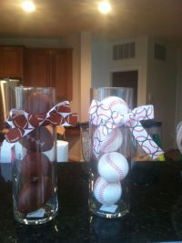 Centerpieces for sports themed baby shower. (Could fill ...