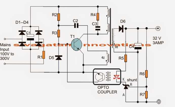 The article shows a 32V, 3 amp SMPS circuit which may be