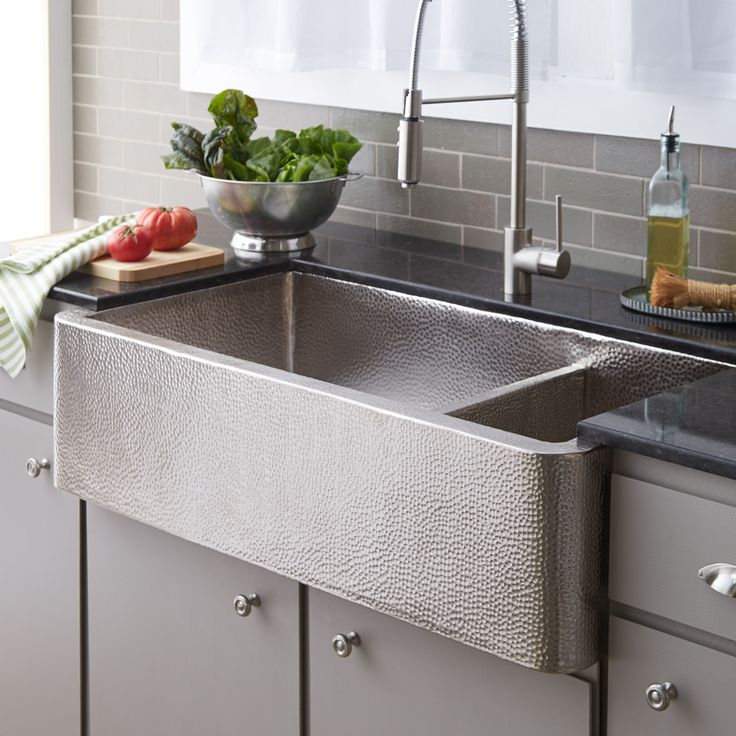 Farmhouse Duet Pro Hammered Copper Kitchen Sink In Brushed