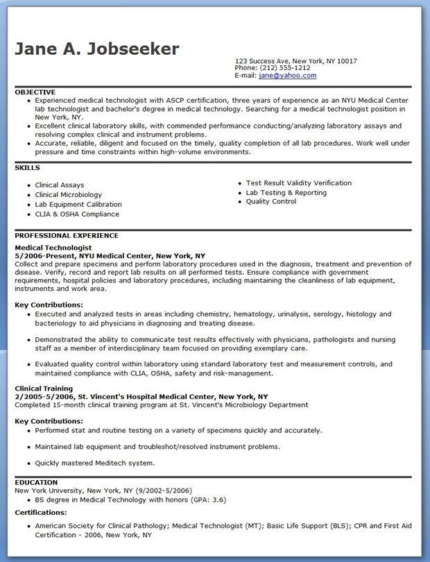 Medical Technologist Resume Example  Creative Resume Design Templates Word  Pinterest  Resume