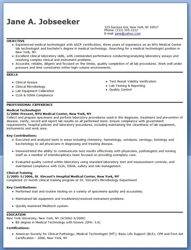 Nuclear Medicine Technologist Resume Examples
